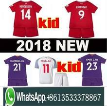 5bd25ff2d 2019 SALAH Child kids kit sets soccer jersey football shirt mohamed salah jersey  liverpool 18 19 FIRMINO HENDERSON MANE unifor