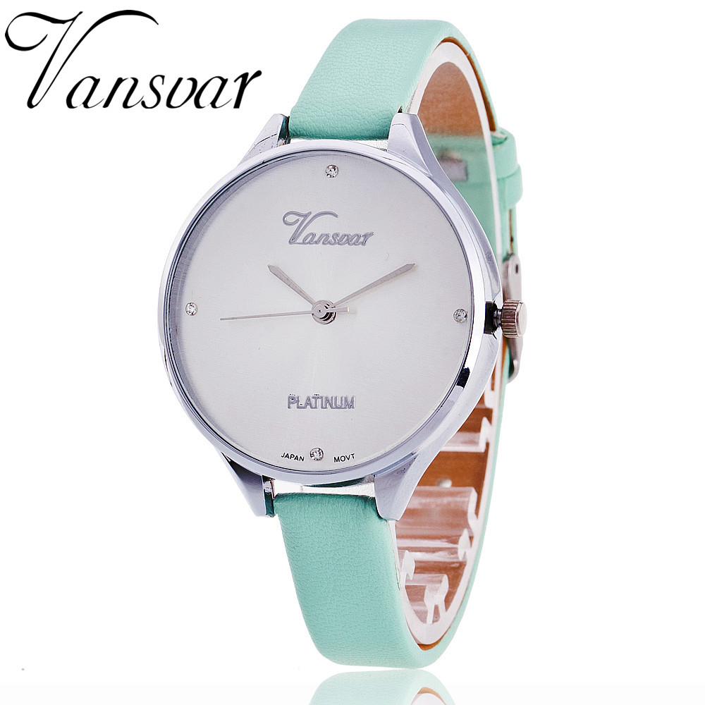 VANSVAR Leather Strap Women Wrist Watch Fashion Watch Hot Casual Quartz Watch Reloj Mujer Relogio Feminino Drop Shipping 1808 2017 new fashion tai chi cat watch casual leather women wristwatches quartz watch relogio feminino gift drop shipping