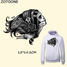 ZOTOONE Iron Patches for Clothing Black Flower Girl Heat Transfer Fashion Stickers Decoration A-level Washable C