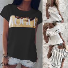 NEW Women VOGUE Print Loose Soft T-shirt Tops Ladies Short Sleeve Shirt Casual Cool
