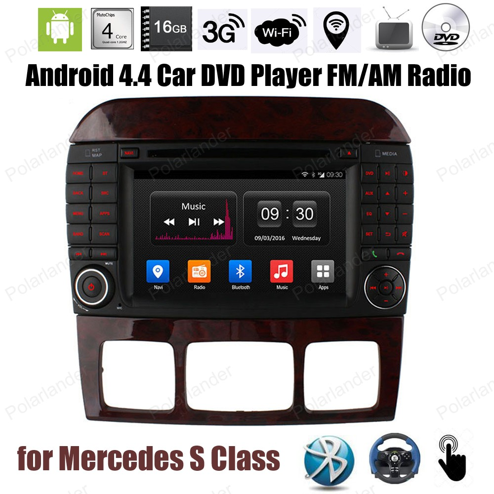 Android4.4 Car DVD 1024*600 Quad Core radio Support GPS BT 3G WiFi TPMS OBDII DAB + DTV mirror link For Mercedes S Class