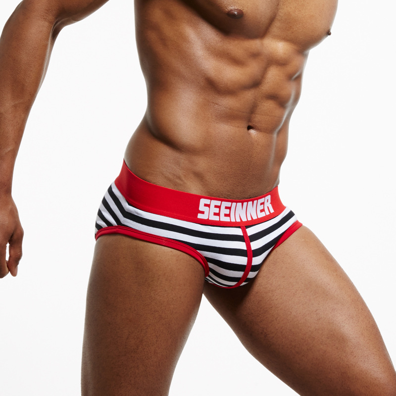 20 Styles SEEINNER Men Underwear Briefs Cotton Striped Sexy Men Briefs Slips Cueca Masculina Male Panties Calcinha Gay Underwear(China)