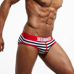 Gay Underwear Briefs Male Panties Slips Sexy Men SEEINNER Striped Cotton Cueca 20-Styles