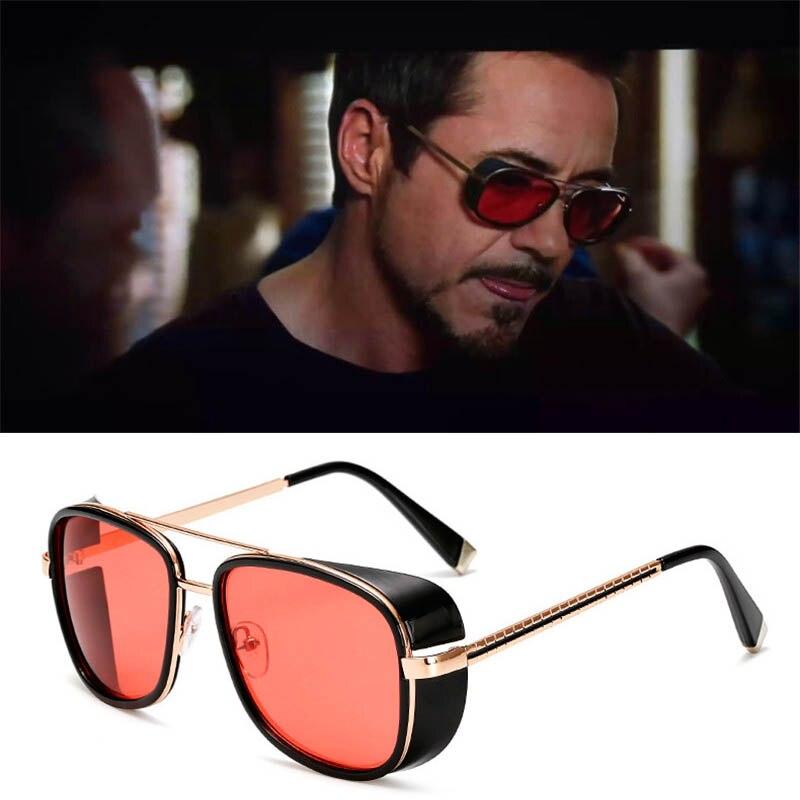 HJYBBSN Iron Man 3 Tony Stark Sunglasses For Men Vintage Luxury Brand Designer Steampunk Red Sun Glasses Metal Frame Gafas UV400