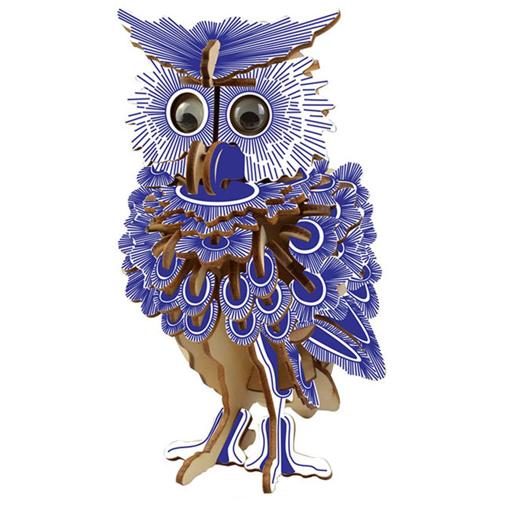 142pcs 3D Wooden Owl Puzzles Jigsaw DIY Hobbies Children Birthday Gift Toy Woodcraft Kids Kit Toy Model DIY Construction