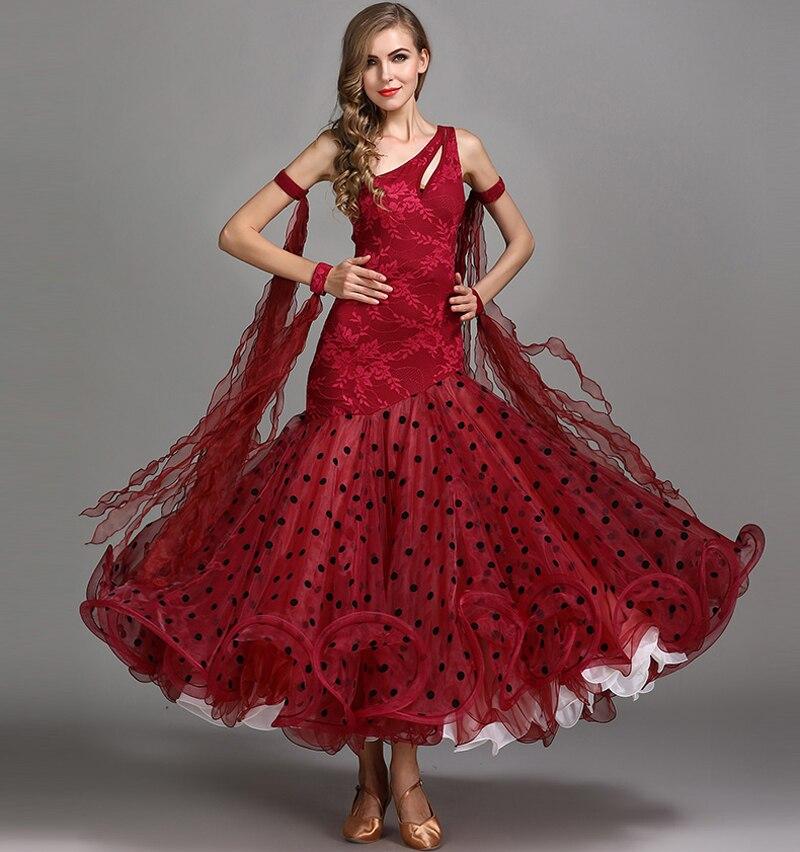 Standard Ballroom Dance Dresses New Desigh High Quality One Shoulder Waltz Dancing Skirt Red Ballroom Competition
