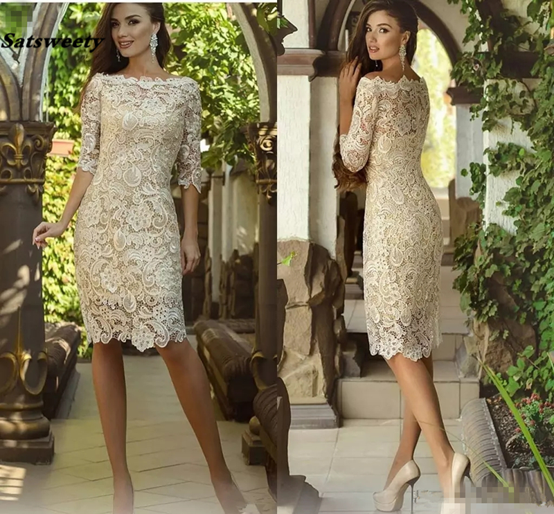 Vintage Knee-length Mother Of The Bride Dresses With Half Sleeve 2019 Crochet Lace Jewel Short Mother Of The Groom Guest Gowns