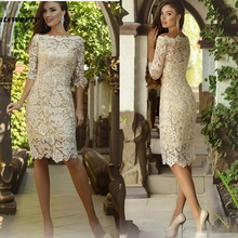 Vintage Knee length Mother Of The Bride Dresses with Half Sleeve 2019 Crochet Lace Jewel Short
