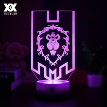LED World of Warcraft 3D Lamp The Alliance Tribal Signs Remote Control Night Light USB Decorative Table Childrens Gift