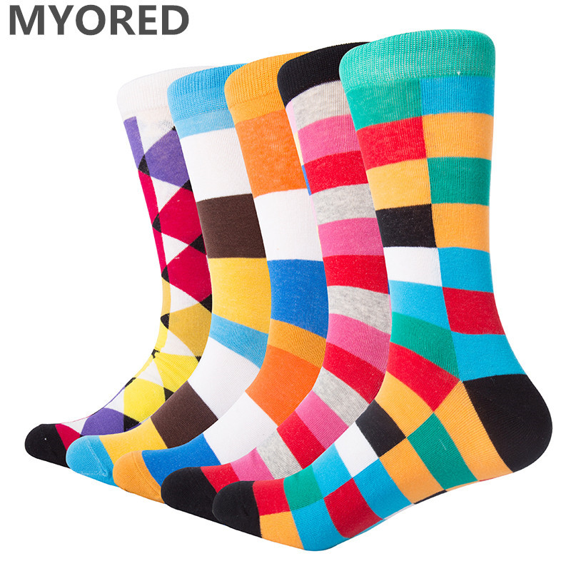 MYORED 5 pairs bright multi colorful Luxury Striped Argyle men dress   socks   combed cotton trendy wedding funny novelty crew   sock