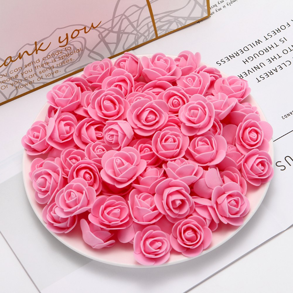 50pcs cheap PE mini artificial flowers for home wedding decoration accessories fake foma bears scrapbook diy wreath needlework(China)