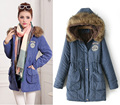 2016 New Fashion women's fur collar hooded long coat outwear rabbit fur lining winter jacket W-024