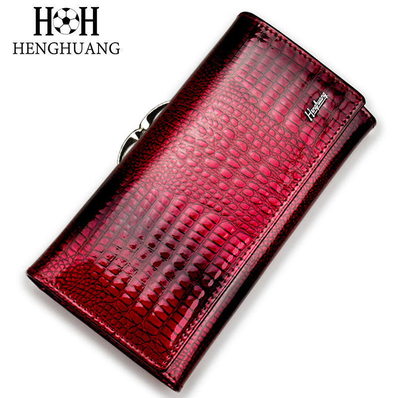HH Alligator Womens Wallets Luxury Patent Crocodile Genuine Leather Ladies Clutch Purse Hasp Long Coin Multifunctional Purses