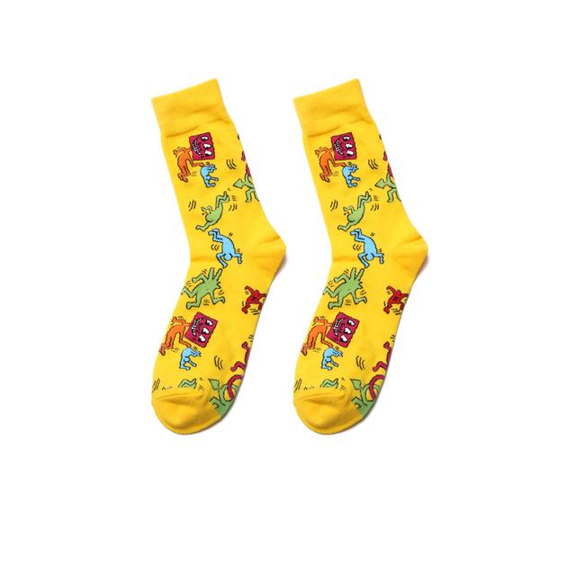 PEONFLY New Personality Originality Doodle Pills Pattern Art Socks Men Happy Harajuku Casual Funny Colorful Jacquard Cotton Sock
