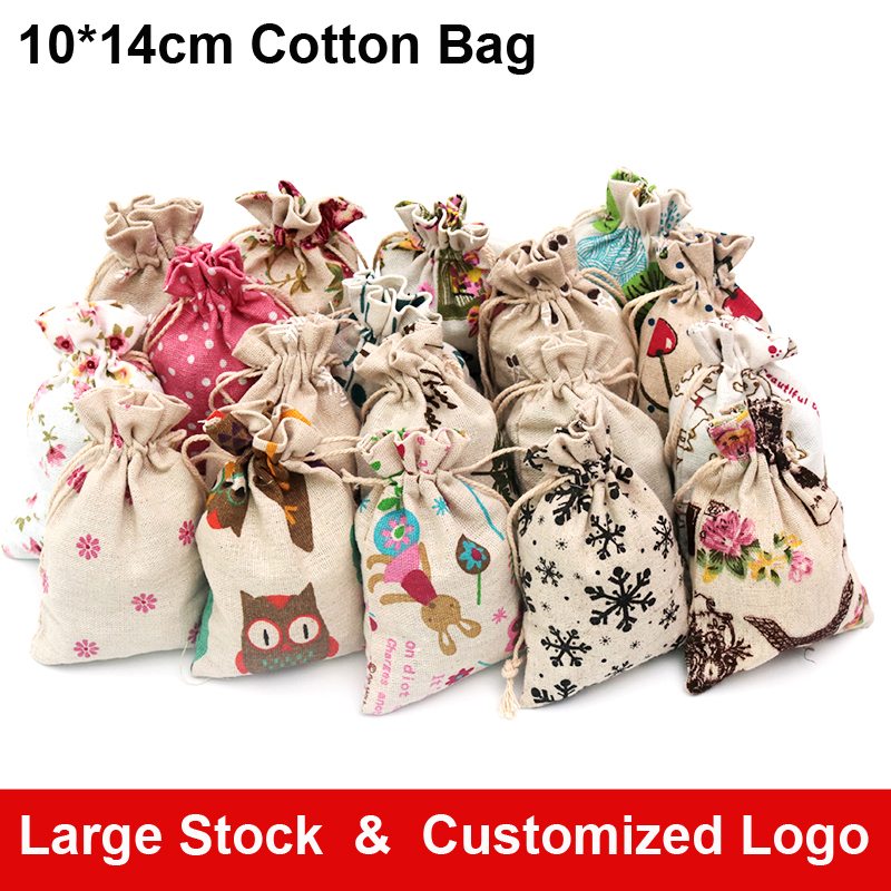 Hot Fashion Jewelry Bags For Necklace Earrings Choker Bracelet Display Packaging 10pcs 10*14cm Cotton Fabric Drawstring Pouches