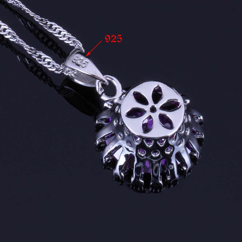 ยอดเยี่ยมรอบสีม่วง Cubic Zirconia สีขาว CZ 925 เงินสเตอร์ลิงชุดเครื่องประดับสำหรับต่างหูแหวนจี้แหวน V0281