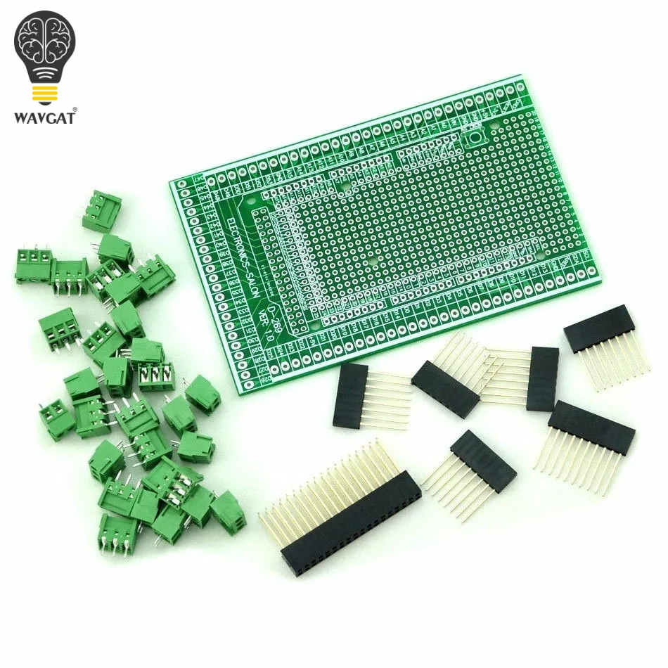 WAVGAT Double-side PCB Prototype Screw Terminal Block Shield Board Kit For MEGA-2560 Mega 2560 R3 Mega2560 R3WAVGAT Double-side PCB Prototype Screw Terminal Block Shield Board Kit For MEGA-2560 Mega 2560 R3 Mega2560 R3
