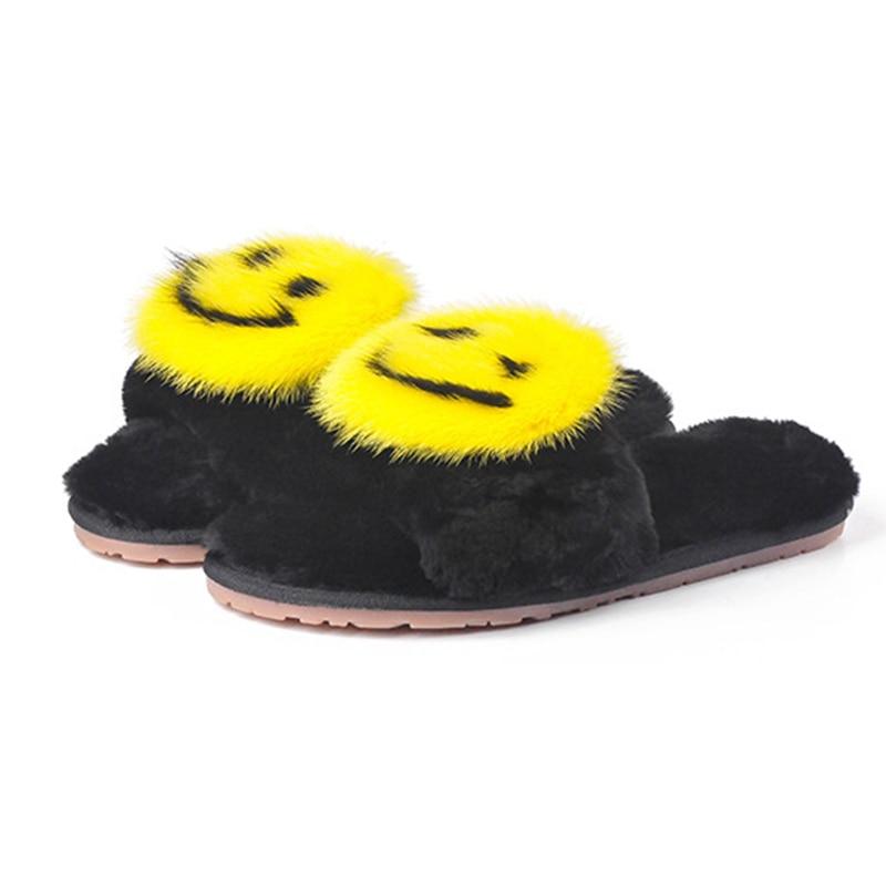 2018 New Fashion Design Big Smile Mink Fur Slippers Women Winter Indoor Handmade Flat with Flip Flops Sandals Shoes цены онлайн