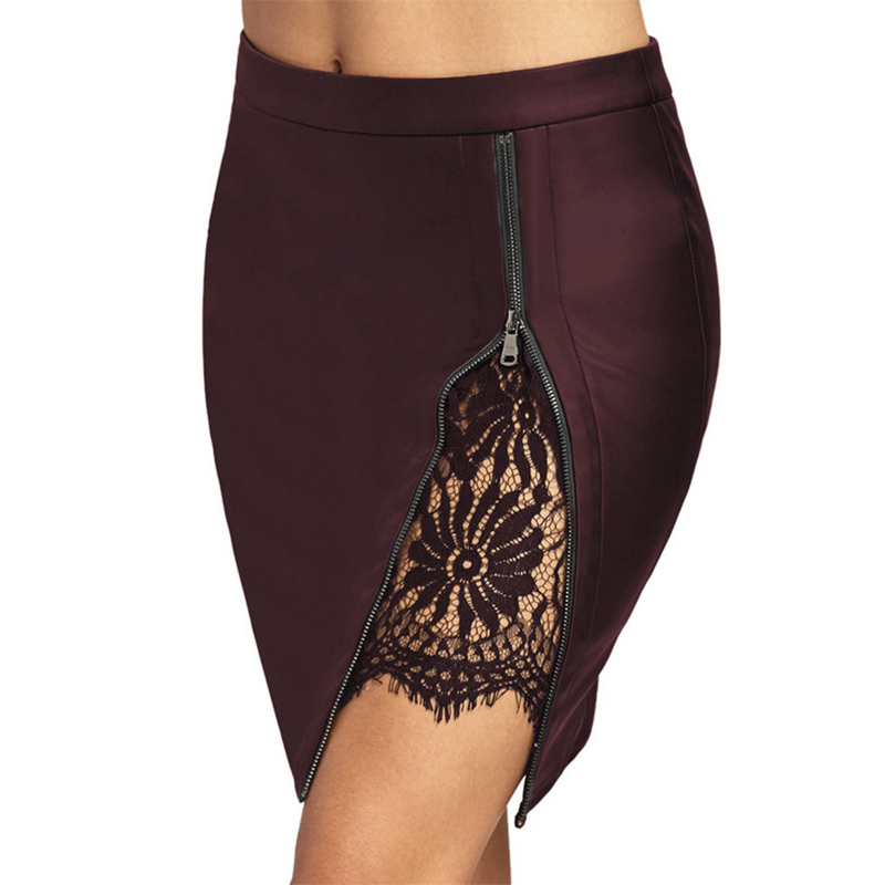 lace skirt straight patchwork high street mini above knee PU faux leather black wine navy sexy club party in Skirts from Women 39 s Clothing