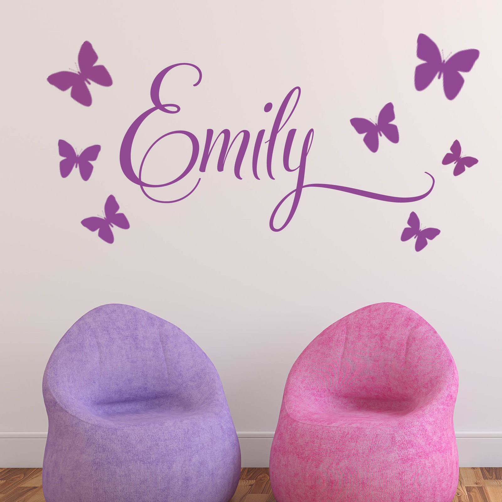 d197 baby girls wall sticker personalised 7 butterflies custom child