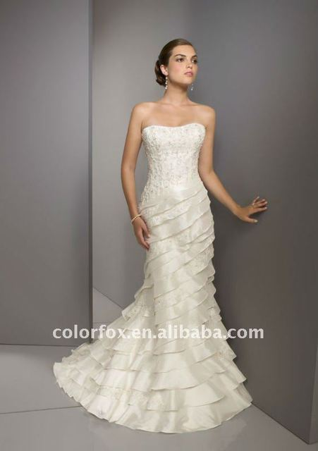 Elegant Beaded lace Embroidered Tiered Layers Corset Back Trumpet Bridal Wedding Dress New Arrival Bridal Gown 2015