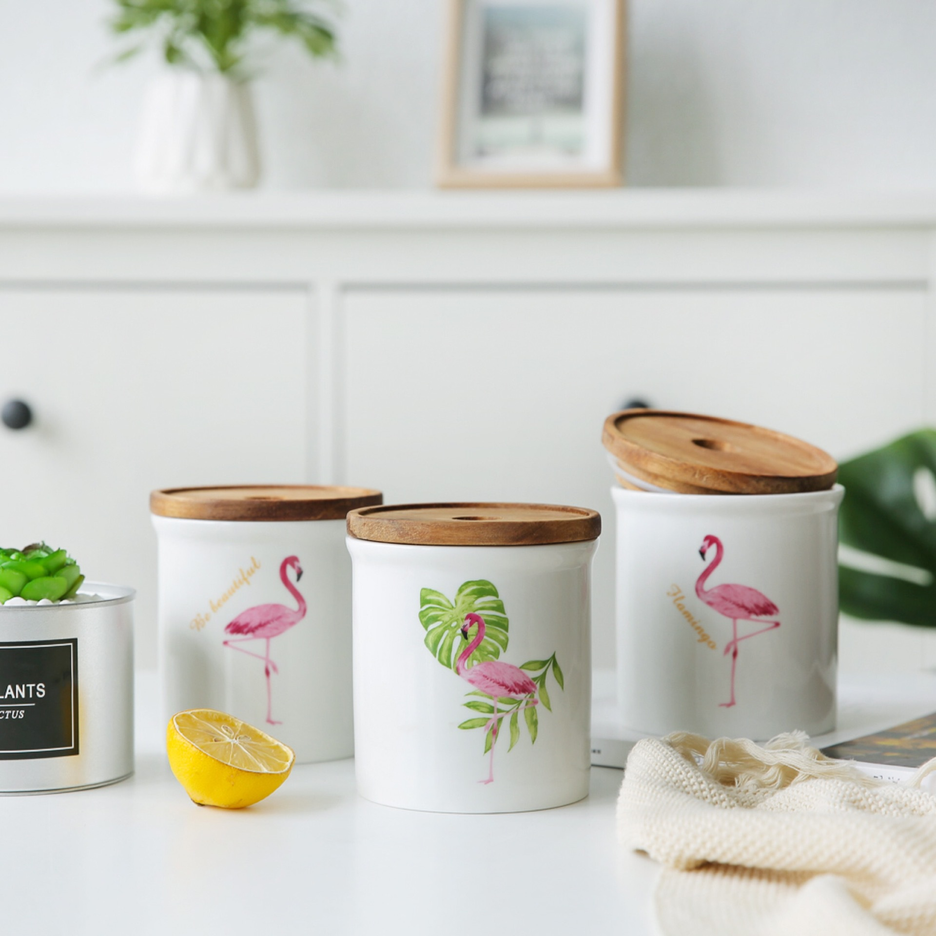 Flamingo Mug Drinkware Ceramic Mugs With Wood Lid Gift