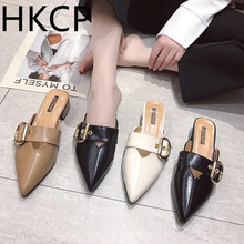 HKCP 2019 summer new Korean version of the pointed head baotou cool slippers women with chunky heel belt buckle C110