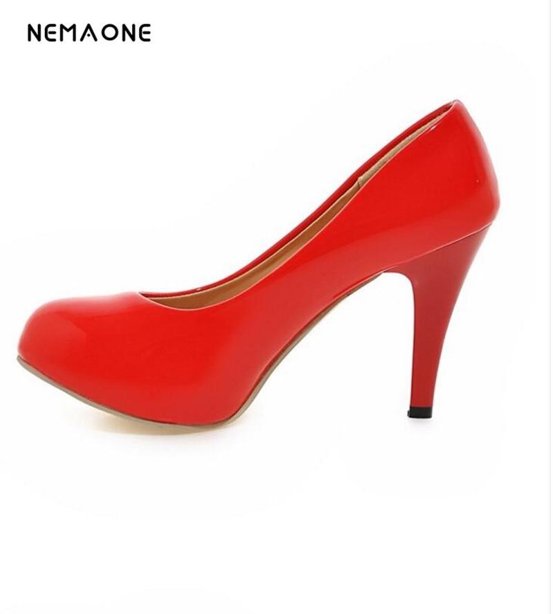 NEMAONE Woman Pumps high heels platform ladies wedding Heel womens pumps Thin heels Sexy office shoes for women Big size US 9.5 5 3 4 inch sexy high heel womens shoes faux wood grain platform clearance