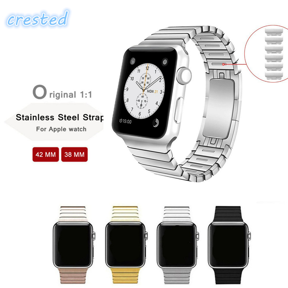 CRESTED Removable 316L Stainless Steel link bracelet & Luxury stainless Metal strap for apple watch band 42 mm 38 mm 1 2 3 crested stainless steel watch band strap for apple watch 42 mm 38 mm link bracelet replacement watchband for iwatch serise 1 2