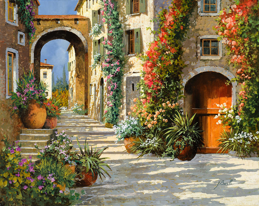 <font><b>italian</b></font> scenery painting, the Red Door On Salita,modern art canvas, <font><b>home</b></font> <font><b>decor</b></font>,High quality,hand-painted