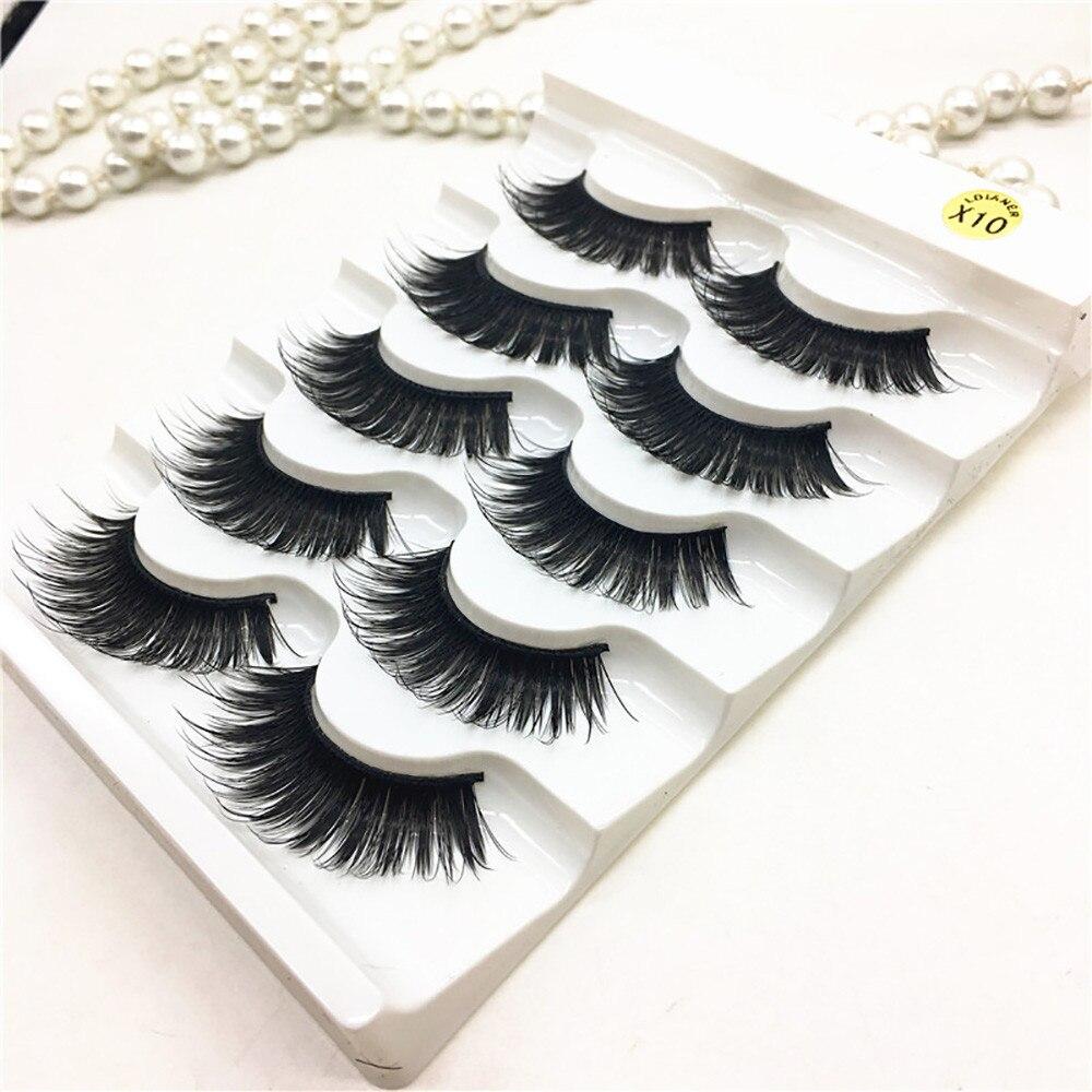 5 pair Luxurious 3D false Eyelashes mink lashes silk soft Messy Cross Thick false Eyelashes Eyelashes Extension Tools 4730A