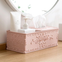 European style carved tissue box living room coffee table tray home desktop napkin multi-purpose storage