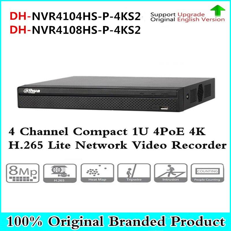 Оригинальный DH 4 К 4PoE NVR4104HS-P-4KS2 NVR4108HS-P-4KS2 4 канала 8-канальный компактный 1U H.265 Lite Сетевой Видео Регистраторы