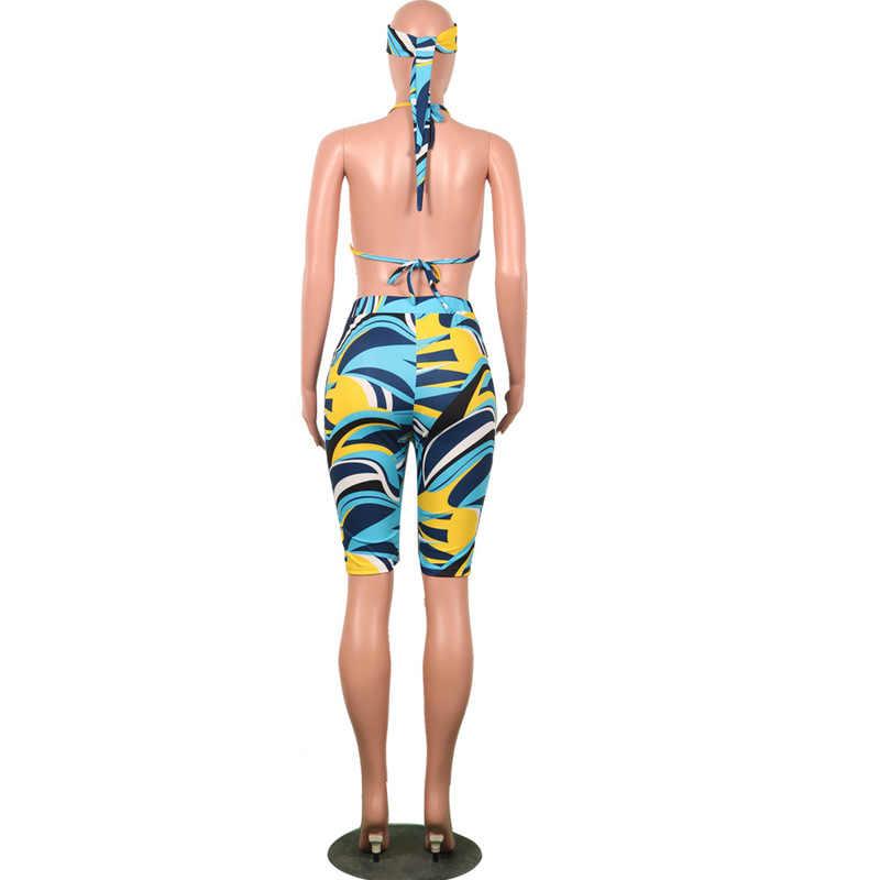 3 ツーピースの衣装 2019 夏休み女性自由奔放に生きるカラフルなブラセット 3 ピースクロップトップ + ショートパンツ + スカーフセットビーチウェア水着