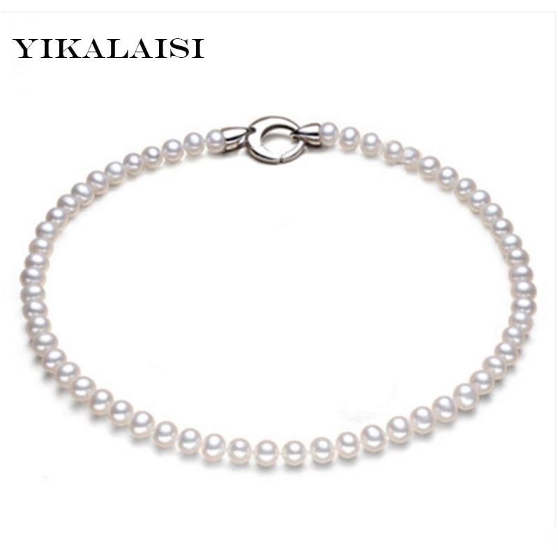 YIKALAISI 2017 100% natural freshwater pearl necklaces 7-8 mm white natural pearl necklaces gifts for women for girls JewelryYIKALAISI 2017 100% natural freshwater pearl necklaces 7-8 mm white natural pearl necklaces gifts for women for girls Jewelry