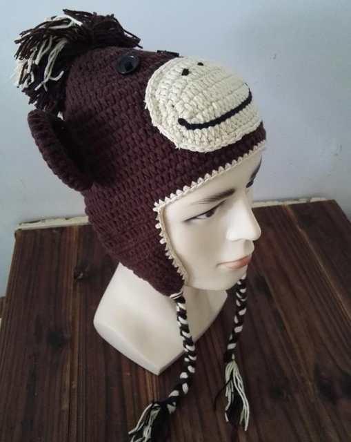 Online Shop Handmade Knitted Crochet Monkey Hat With Ear Flap Animal
