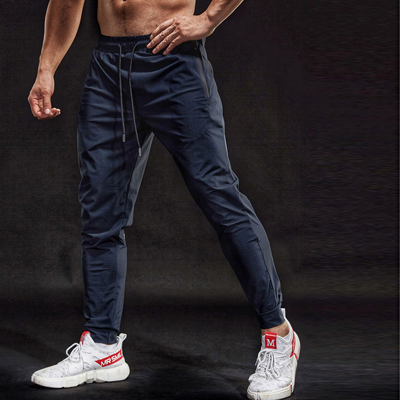 BINTUOSHI Sport-Pants Joggings Training Men Breathable with Zipper-Pockets Trousers Fitness