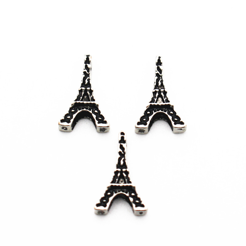 Hot Sale 10pcs/lot Metal Eiffel Tower Floating Charms For Living Glass Memory Floating Lockets Pendant Necklace DIY Jewelry