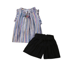 2Pcs Fashion Toddler Kid Baby Girl Princess Rainbow Striped Shirt Sleeveless Tops Solid Shorts Outfit Clothes Set 2019