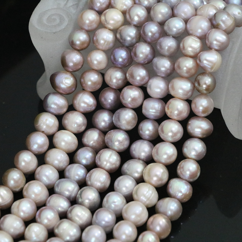 New 9-10mm natural freshwater purple round pearl beads charms women wholesale retail cultured jewelry making 15inch B1401
