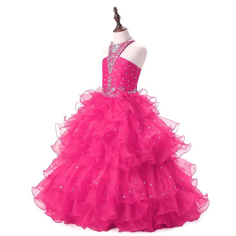 Robe de communion enfants cristal Organza rouge fleur fille robe pour enfants soirée robe de bal licou fille robes de reconstitution historique