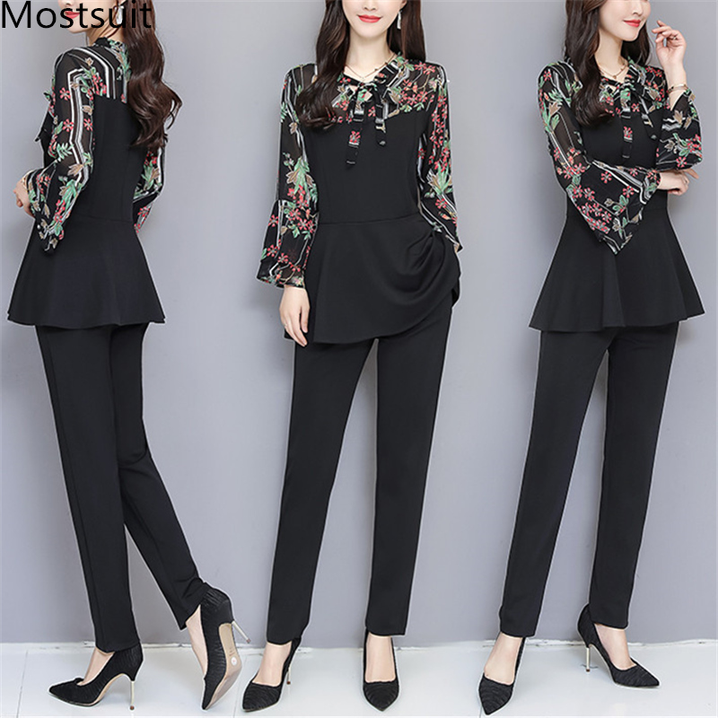Black Elegant Printed Two Piece Sets Women Flare Sleeve Tunic Tops And Pants Suits Sets OL Style Casual Women's Sets Costumes