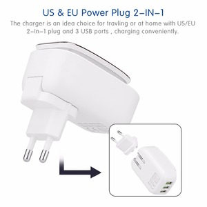 Image 5 - Powstro 3 port led lâmpada usb carregador adaptador 5 v 3.4a max 2 em 1 parede de viagem ue & eua auto id carregador de telefone móvel para iphone samsung