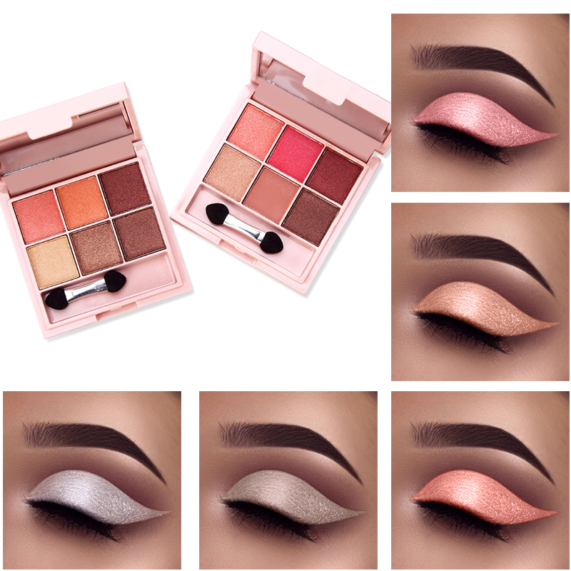 6 Colors Eyeshadow Palette Shimmer Matte Cosmetic Make up Nude Glitter Waterproof Eye Shadow Makeup Tools With makeup brushes eye shadow