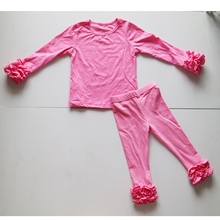 hot pink o-neck cotton full sleeve outfit solid children ruched tee and ruffle leggings