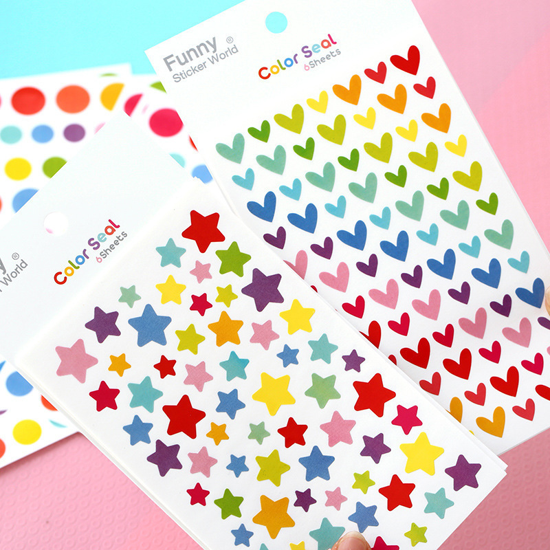 6 PCS/Pack Creative Colorful Seal Cute Love Heart Dot Five-pointed Star Scrapbooking Paper Stickers Children Decorate Stationery