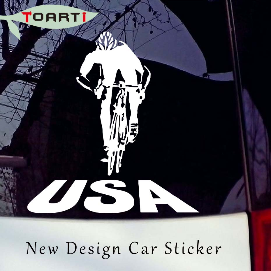 Bike stickers design online - Cycling Usa Riding Bicycle Car Sticker Vinyl America Truck Window Car Styling Creative Waterproof Auto Decals