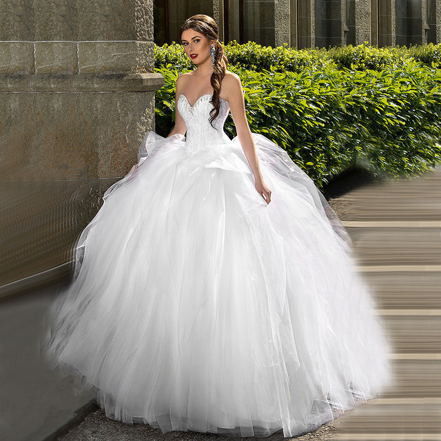 MANSA 2016 Hot Selling Style Big Ball Gown Wedding Dress Sweetheart ...