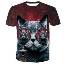 Cloudstyle Men Women 3D T-shirt Sunglass Gray Cat 3
