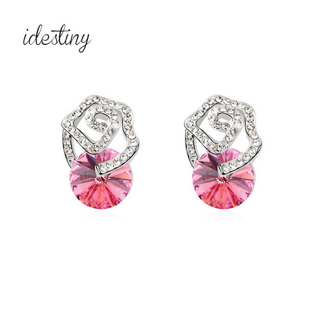 Rose Shaped Flower Stud Earrings Made With Austria Crystal High Quality Hypoallergenic Jewelry For Women Daily